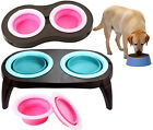COLLAPSIBLE PET DOG CAT FOOD DRINK WATER BOWL TWIN SET INDOOR OUTDOOR TRAVEL
