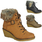 LADIES ANKLE BOOTS BUCKLE WOMENS FUR COLLAR LACE UP WEDGE SHOES SIZE 3 4 5 6 7 8