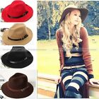 Vintage Women Unisex Leather Belt Warm Fedora Wool Trilby Caps Wide Brim Hats
