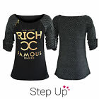 NEW Women's, Girls Metallic Rich & Famous Honeycomb Pattern Casual Top