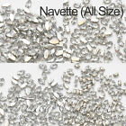 Acrylic Navette 4200 Clear Crystal Silver Claw Sew On Rhinestones Bead All Size