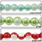 50 x 2-Colour Glass Pearl Beads - Round - 10mm [Various Colours Available]