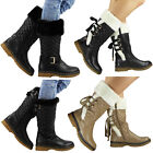 NEW WOMENS LADIES ANKLE LACE UP MID CALF HARD SOLE WINTER RAIN BOOT SHOE SIZE UK
