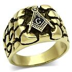 Men's Gold Tone Stainless Steel Masonic Nugget Ring SIZE 8 - 13