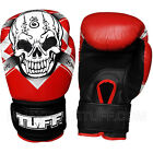 New TUFF Muay Thai Kick Boxing Gloves Red Skull (N) Leather Training Fighting