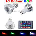 1 4 6 X E27 GU10 MR16 3.5W Remote Control LED Bulb Light 16 Color RGB Changing