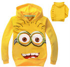 New Super Cool Movie Character Boys Despicable Me Minion Long Winter Hoodie Top
