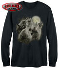 WOLF HOWL ~ LONG SLEEVE T-Shirt TEE ~ Three Wolves Howling at Moon Pack