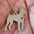 Sterling Silver .925 I heart Dog Necklace Miniature Pinscher or yourl choice