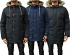 Mens Designer Brave Soul Jacket Padded Hooded Parka Parker Faux Fur Winter Coat