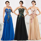 Strapless Chiffon Peacock Prom Bridesmaid Wedding Maxi Dress Size AU6-20