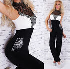 Sexy Women's Overall Jumpsuit Catsuit Embroidery Halter neck Black/White UK 10