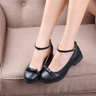 Sweet Retro Womens Low Heel Ankle Strap Shoes Ladies Mary Jane Bowknot Shoes New