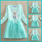 UK0525 New Green Party Anna Elsa Frozen Princess Girls Dress Age 3 to 8