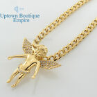 """20-30"""" men stainless steel Gold baby angel wing pendant 6mm cuban necklace chain"""