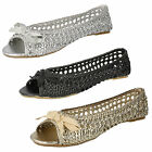 LADIES CASUAL SLIP ON PEEP TOE SYNTHETIC SHOES SPOT ON F0536