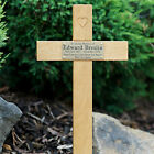 "24"" Tall Oak Carved Heart Wooden Memorial Cross Engraved Plaque Grave Marker pet"