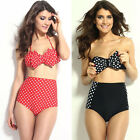 8MILE Sweet Lady Polka Dot Bow-knot High Waist Swimsuit Charm Swimwear Bikini