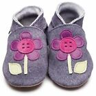 Inch Blue Girls Baby Luxury Leather Soft Sole Pram Shoes - Button Flower Denim