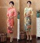 multi red Chinese style cotton Women's evening Dress Cheong-sam 6.8.10.12.14.16