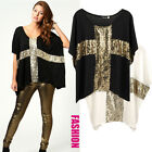 Womens Sequins Cross Print Oversize Loose Tee Batwing Sleeve Shirt Top Blouse