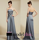 Grey Satin Strapless Evening Prom Bridesmaid Ball Wedding Gown Maxi Dress
