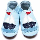 Inch Blue Boys Baby Luxury Leather Soft Sole Pram Shoes - Sail Boat Baby Blue