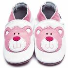 Inch Blue Baby Girls Luxury Leather Soft Sole Pram Shoes - Teddy White & Pink