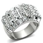 Women's Stainless Steel Wide Band Princess Cut Crystal Band Dome Ring Size 9