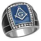 Masonic Freemason Ring Stainless Steel Blue Crystal Frame