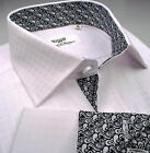 White Herringbone Checkered Fade Men's Luxury Business Dress Shirt Sydney Boss