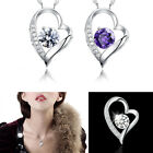 Hot Fashion Women Silver White Chain Necklace With Heart Pendant Crystal Wedding