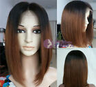 NEW 100% Brizilian remay human hair 1b/33# T-tone BOB short full/front lace wig