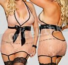 Sexy Lingerie Chemise Babydoll Gowns Ribbon Corset Garter Belt Stockings Size L