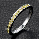 Yellow Sapphire Wedding Band Eternity Ring 14K White Gold,Stackable 1.5mm Round