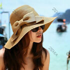 Women Lady Folding Sun Hat  Beach Cap Wide Brim Bowknot Floppy Straw Hat Colors