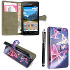 FOR HUAWEI ASCEND Y550 PRINTED PU LEATHER MAGNETIC FLIP CASE COVER i STYLUS