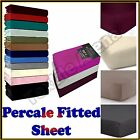 Percale  Fitted Sheet 180 Thread Count Non-Iron Single Double King & S King Size