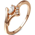 Follon Women's Fashion White Zircon 18K Rose Gold Ring 7 8 9 Sizes
