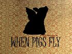 When Pigs Fly, Pig with Wings Original Handmade Matted Picture Art Print A697