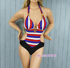 Sexy New cute red&blue&white stripe One Piece SWIMSUIT SWIMWEAR US SIZE M L XL