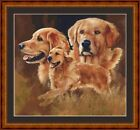 GOLDEN RETRIEVERS - 14 COUNT CROSS STITCH CHART (DMC THREADS) FREE PP WORLDWIDE