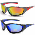 Mens New Eyelevel UV400 Sunglasses Skiing Black Mirror Biker Sports Wrap Around