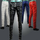 New mens skinny casual leather trousers pants black/white/blue/red Size 28-37