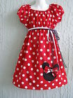 Minnie Mouse Girl Dress Insprd. 60's Red Cotton Size 4-12 yrs CustomMD SHIP FAST