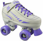 Epic Galaxy Elite White & Purple Girls Indoor/Outdoor Quad Roller Speed Skates