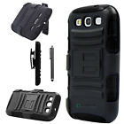 Rugged Hybrid Case Cover + Belt Clip Holster For Samsung Galaxy S3 S III i9300