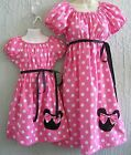 Mother & Daughter Matching Dress Minnie Mouse Aplique 70's Insprd Pink Sz S M L