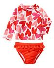 NWT Gymboree Ruffled Heart Rash Guard Swimsuit Swim Set Hearts Rashguard Girl 4T