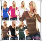 Sexy Women's Lace Everyday Blouse Ladies Casual Blouse One Size 8,10,12,14 UK